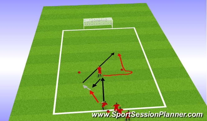 Football/Soccer Session Plan Drill (Colour): Lay off and sideways run