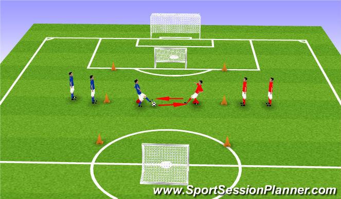 Football/Soccer Session Plan Drill (Colour): Reactiespel (1 vs 1)