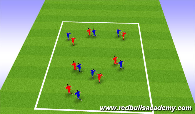 Football/Soccer Session Plan Drill (Colour): Shadow game.