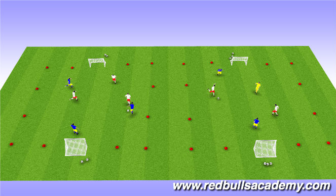 Football/Soccer Session Plan Drill (Colour): 3v3 or 2v2+1