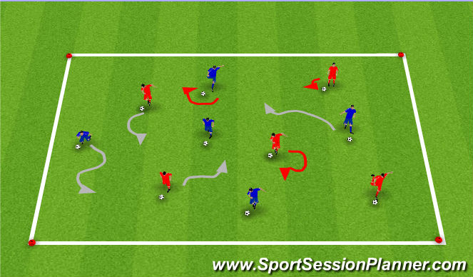Football/Soccer Session Plan Drill (Colour): Technical Dribbling Warmup