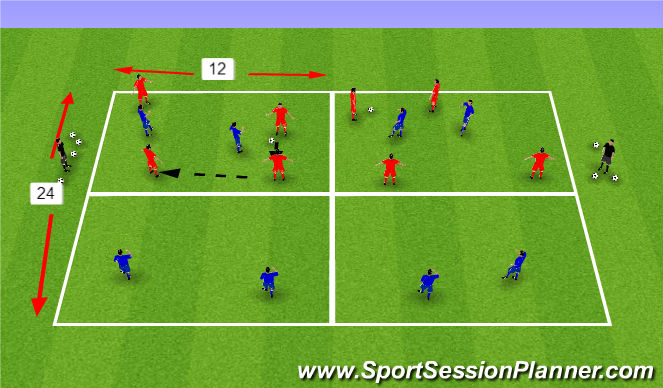 Football/Soccer Session Plan Drill (Colour): 4 v 4+ 2