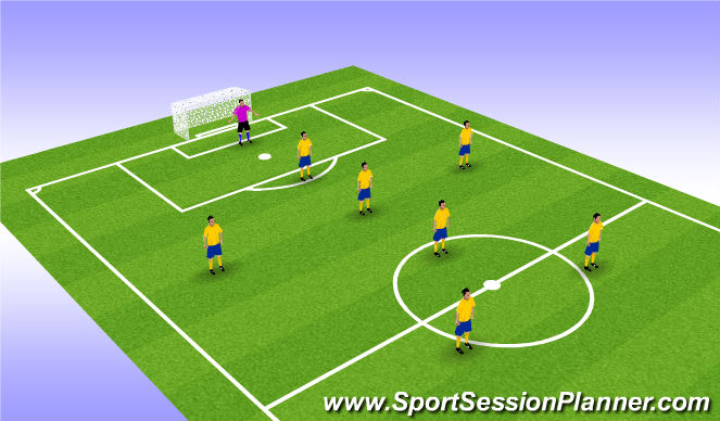 Football/Soccer Session Plan Drill (Colour): 7v7 Plus GK Formation