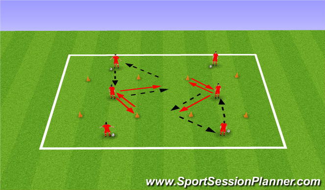Football/Soccer Session Plan Drill (Colour): Passing Practice 3 - Variation 1