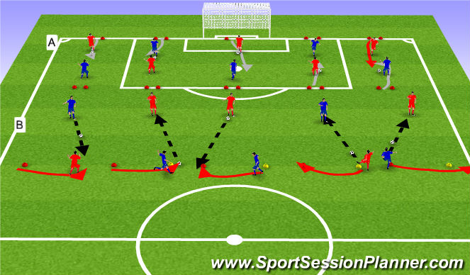 Football/Soccer Session Plan Drill (Colour): Upphitun og líkamlegþjálfun: