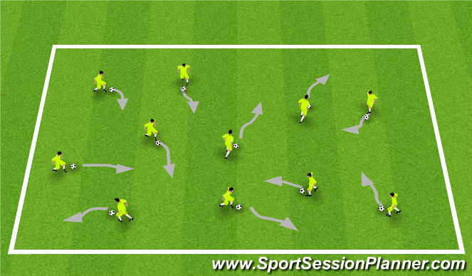 Football/Soccer Session Plan Drill (Colour): Warm Up / Ball Mastery