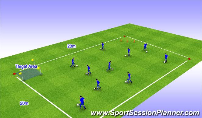 Football/Soccer Session Plan Drill (Colour): Close Control
