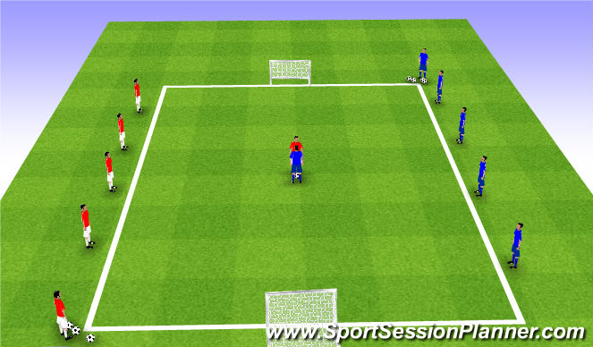 Football/Soccer Session Plan Drill (Colour): 1v1 Play