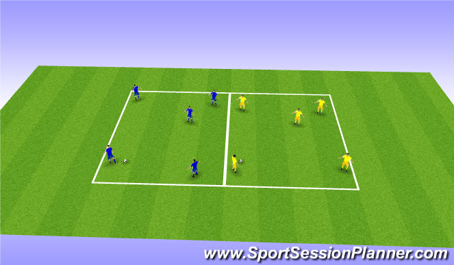 Football/Soccer Session Plan Drill (Colour): Expanded small sided 2 team transition