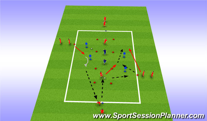 Football/Soccer Session Plan Drill (Colour): Recieve, Turn + Pass