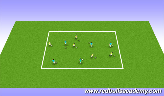 Football/Soccer Session Plan Drill (Colour): Technical Warm-up: Ball Mastery