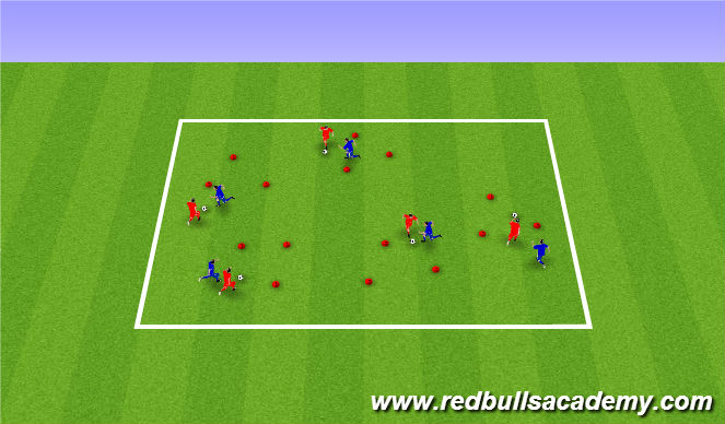 Football/Soccer Session Plan Drill (Colour): poke tackle intro