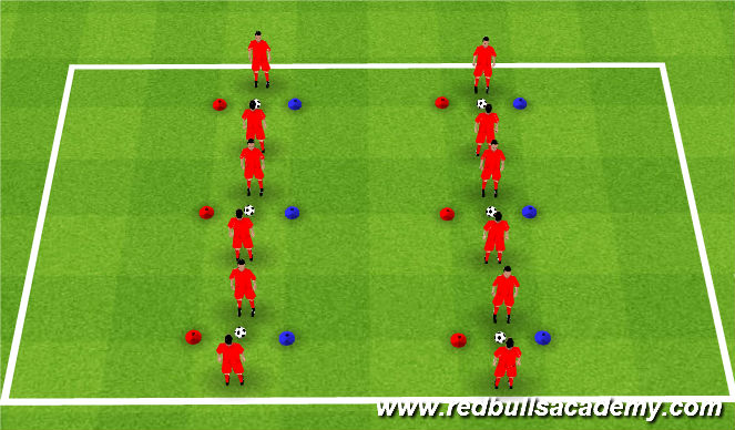 Football/Soccer Session Plan Drill (Colour): Colored Cones Warm Up
