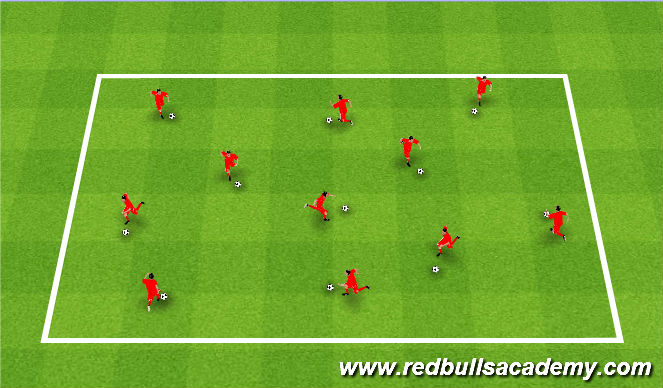 Football/Soccer Session Plan Drill (Colour): Free Grid Dribbling