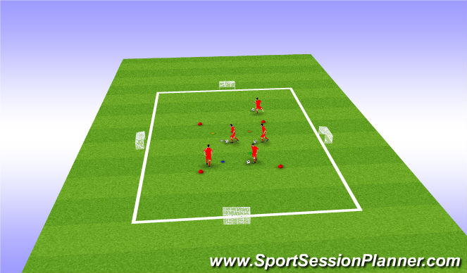 Football/Soccer Session Plan Drill (Colour): Close control + shooting