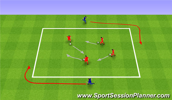 Football/Soccer Session Plan Drill (Colour): Shark attack. Uwaga rekin.