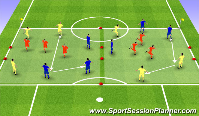 Football/Soccer Session Plan Drill (Colour): 6x3 noga