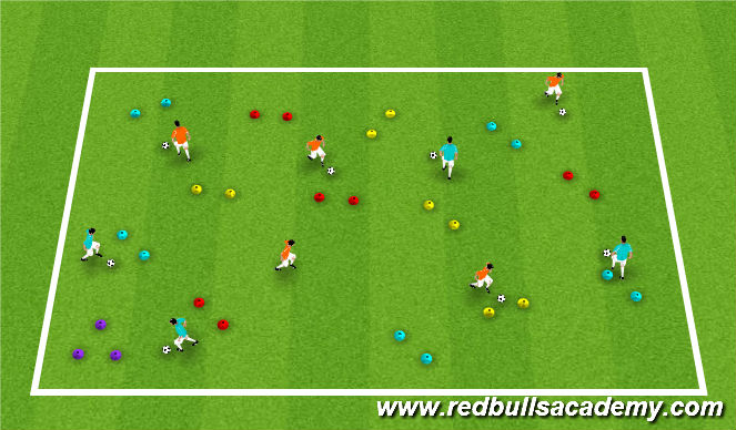 Football/Soccer Session Plan Drill (Colour): Warm-up: Messi/Ronaldo through gates