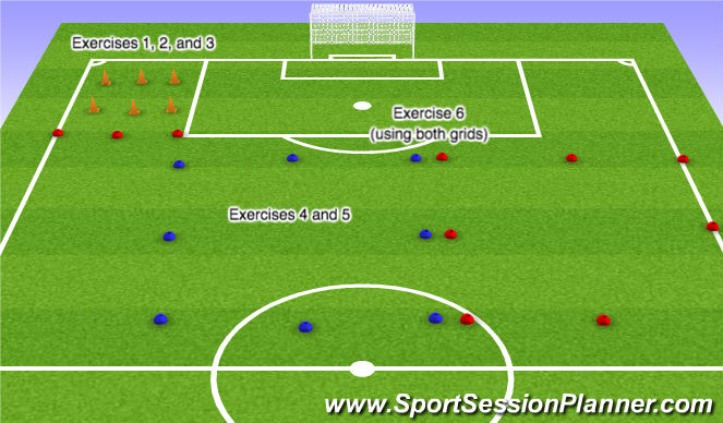 Football/Soccer Session Plan Drill (Colour): Layout and Warm-up