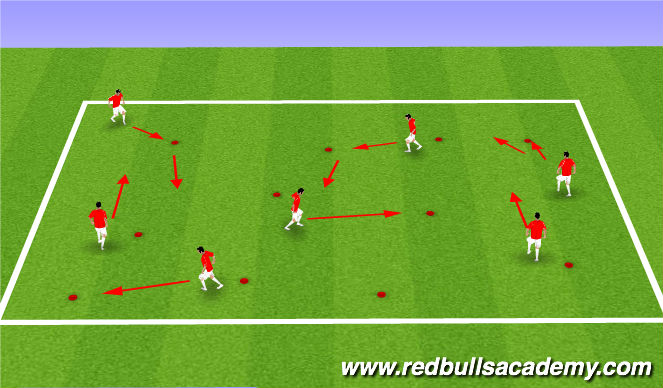 Football/Soccer Session Plan Drill (Colour): Deceptive Moves, Warm Up 15 Mins