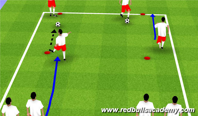 Football/Soccer Session Plan Drill (Colour): Dynamic WU - lofted Balls