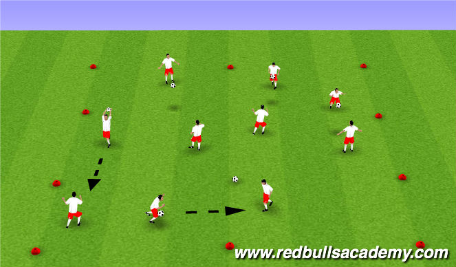 Football/Soccer Session Plan Drill (Colour): Touch and pass warm up