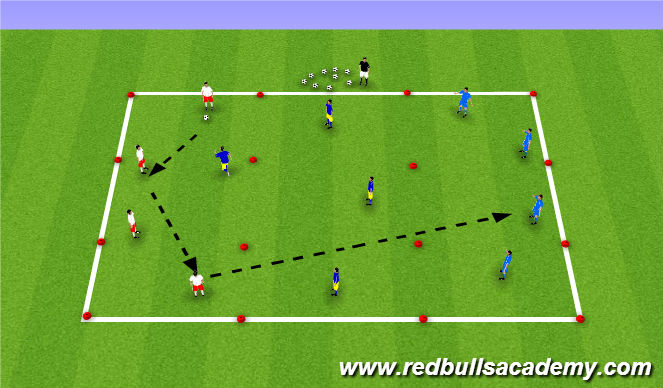 Football/Soccer Session Plan Drill (Colour): 3 field split keep away