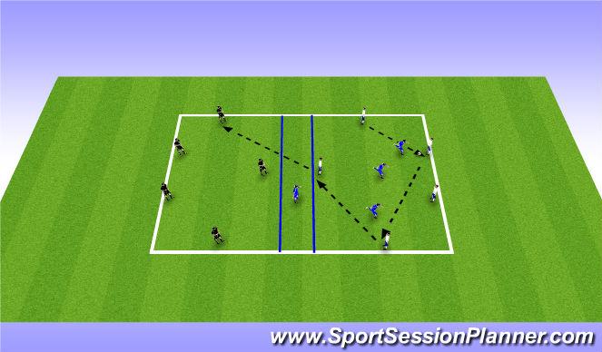 Football/Soccer Session Plan Drill (Colour): Rondo: 3 team 5v3