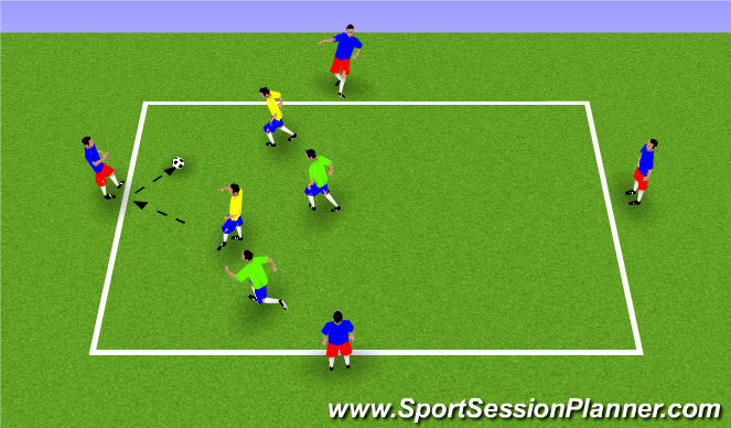 Football/Soccer Session Plan Drill (Colour): 2v2+4 in a Box