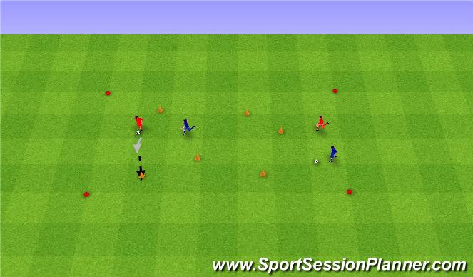 Football/Soccer Session Plan Drill (Colour): Cone game. Przewracanie pachołków.