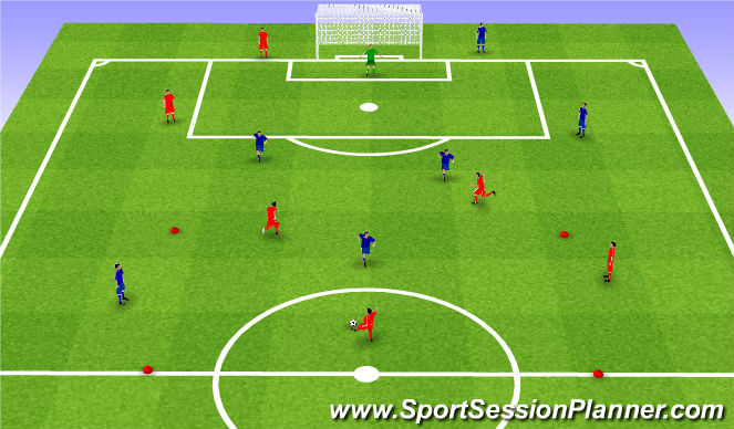 Football/Soccer Session Plan Drill (Colour): Interval games. Gra interwałowa.