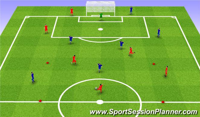 Football/Soccer Session Plan Drill (Colour): Interval games. Gra interwałowa.