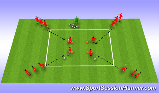 Football/Soccer Session Plan Drill (Colour): Knattraks - og sendingaæfing.