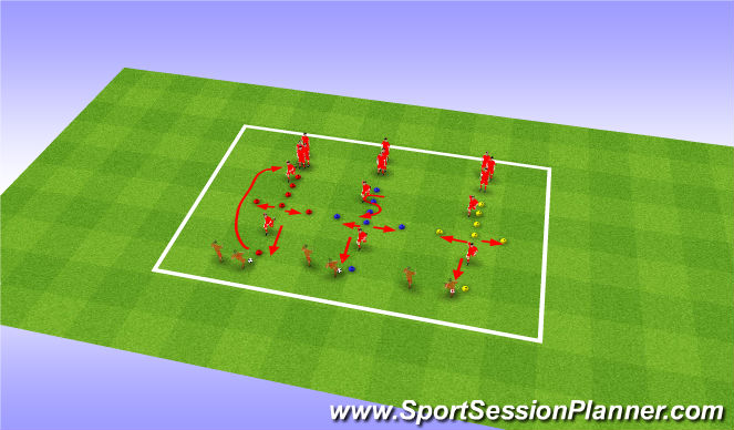 Football/Soccer Session Plan Drill (Colour): Dynamic Warm-Up (SAQ) (15 Mins)
