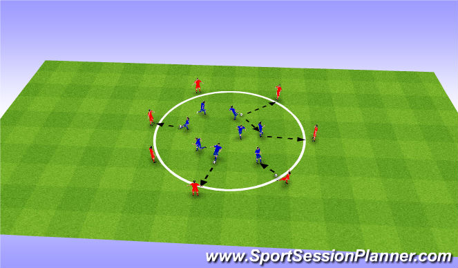 Football/Soccer Session Plan Drill (Colour): Technical - Passing and Receiving (20 Mins)