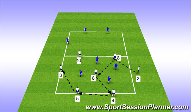 Football/Soccer Session Plan Drill (Colour): Rondo - 7v4