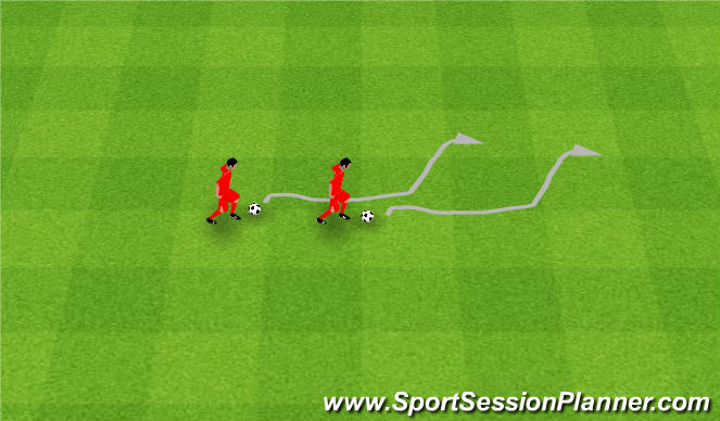 Football/Soccer Session Plan Drill (Colour): Follow the leader. Naśladowanie.
