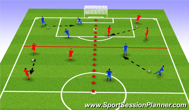 Football/Soccer Session Plan Drill (Colour): Warm up - passing / receiving in traingles