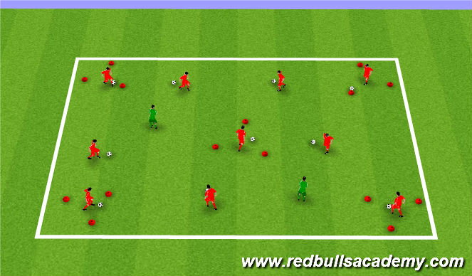 Football/Soccer Session Plan Drill (Colour): Triangle Tag - Ball