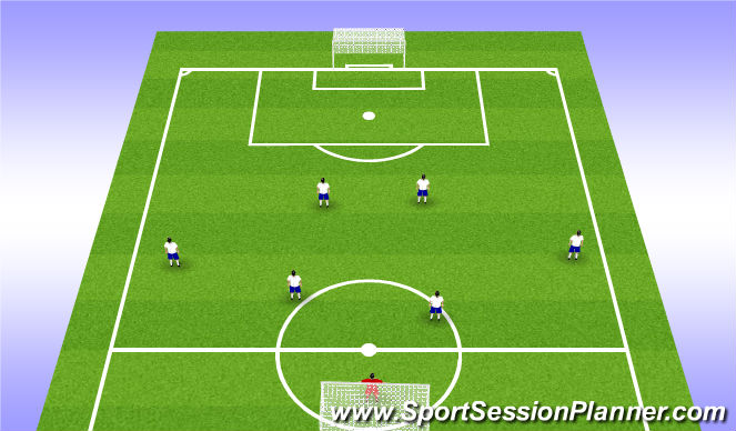Football/Soccer Session Plan Drill (Colour): Tech. WU - 7v0 Shadow Play