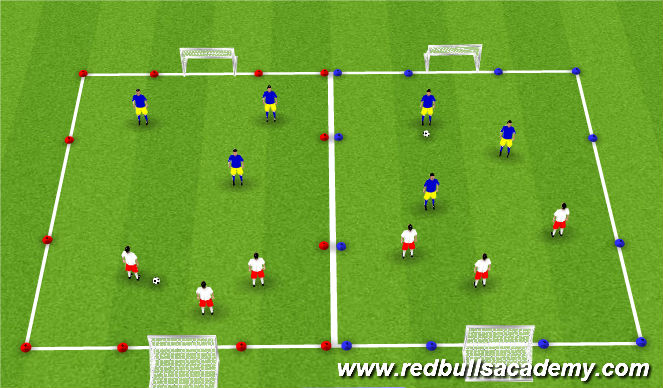 Football/Soccer Session Plan Drill (Colour): 2v2/3v3