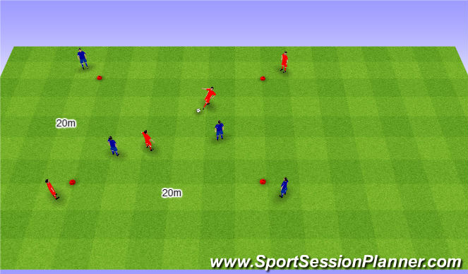 Football/Soccer Session Plan Drill (Colour): 2v2 possesion game. 2v2 na utrzymanie (20')
