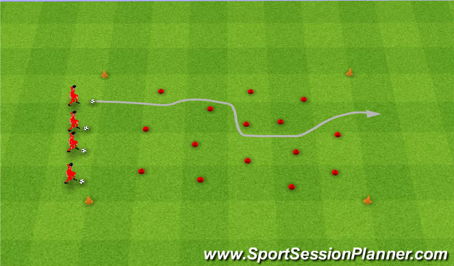 Football/Soccer Session Plan Drill (Colour): Minefield. Pole minowe.