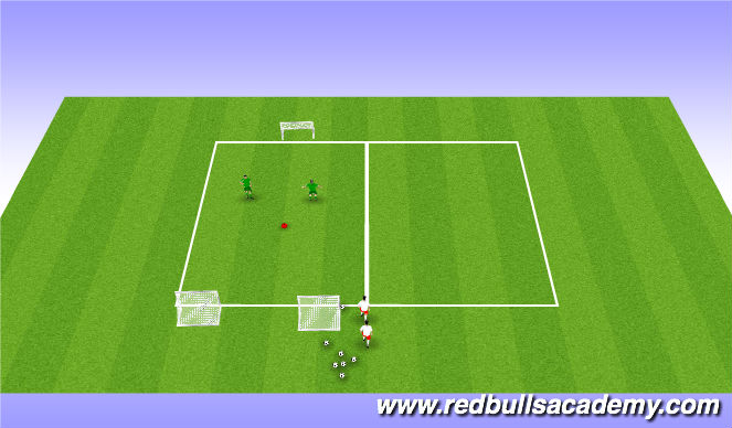 Football/Soccer Session Plan Drill (Colour): 2v2 Warmup