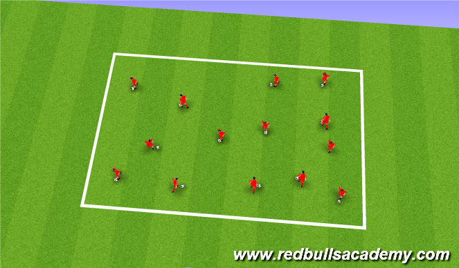 Football/Soccer Session Plan Drill (Colour): Warm up & Ball Mastery