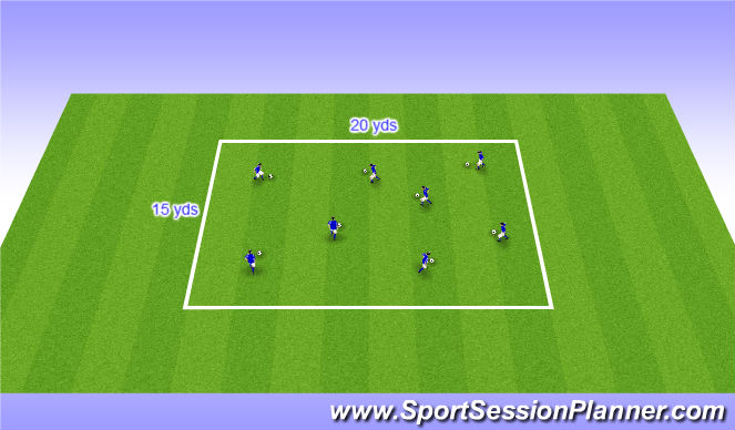 Football/Soccer Session Plan Drill (Colour): Warm up - dribbling square