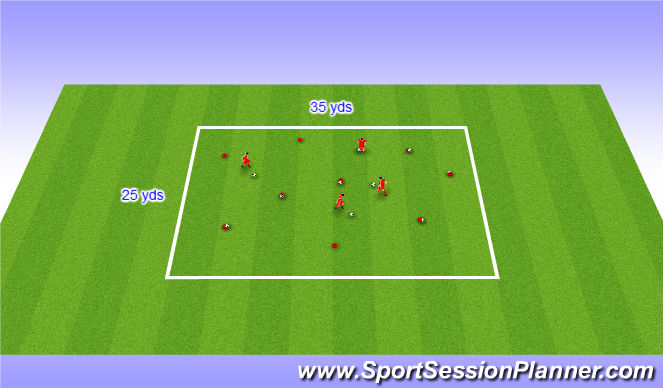 Football/Soccer Session Plan Drill (Colour): Warm up - Space Invaders