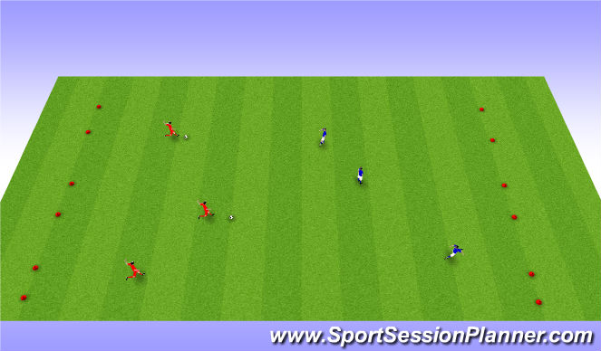 Football/Soccer Session Plan Drill (Colour): Expanded Small Sided Activity - 6 Goal Game