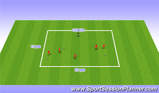 Football/Soccer Session Plan Drill (Colour): Warm up - Individual dribbling: retreival
