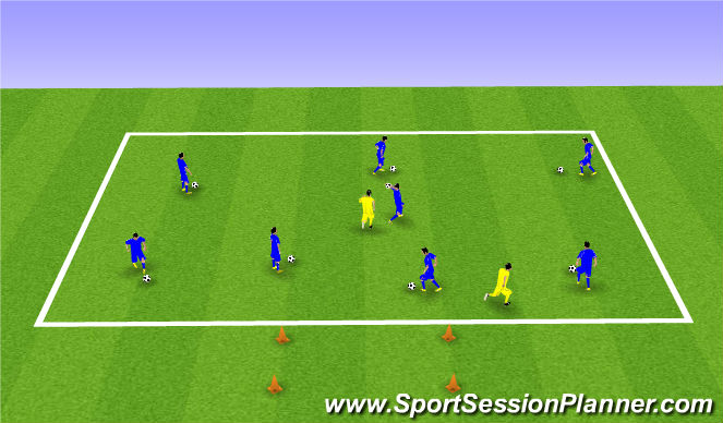 Football/Soccer Session Plan Drill (Colour): Warm Up - Stuck in the mud